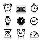 Tiempo, iconos del reloj fijados Imagenes de archivo