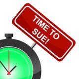 Tiempo a la legislación de Sue Shows Statute Legally And Fotografía de archivo