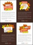 Tiempo limitado Autumn Posters Discount Promo Coupons stock de ilustración