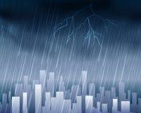 Tiempo lluvioso en fondo del azul de la ciudad Foto de archivo libre de regalías