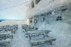 Tiempo peligroso en la noche - nieve, ventisca del invierno, fría Foto de archivo libre de regalías