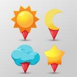 Tiempo Pin Icon Symbol Set Fotos de archivo libres de regalías