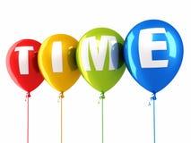 Tiempo que escribe los globos coloridos Fotografía de archivo