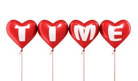 Tiempo que escribe los globos rojos del corazón Fotografía de archivo