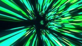Tiempo y espacio hyperspace, lazo inconsútil, animación 4K del wormhole del túnel del vórtice del fondo 3D de la ciencia ficción  ilustración del vector