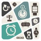 Tiempo y fondo del tema de los relojes ilustración del vector