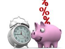 Tiempo y porcentajes Imagen de archivo libre de regalías