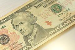 Tien Dollars met Één Nota 10 dollars Royalty-vrije Stock Fotografie