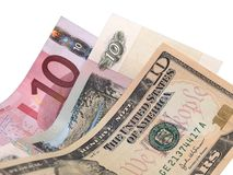 Tien Dollars, Roebels, Euro bankbiljetten Stock Foto's