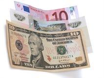 Tien Dollars, Roebels, Euro bankbiljetten Royalty-vrije Stock Fotografie
