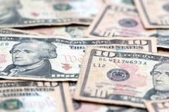 Tien dollarsrekeningen Royalty-vrije Stock Foto