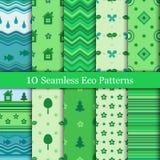 Tien eco naadloze patronen in groene kleuren Royalty-vrije Stock Fotografie