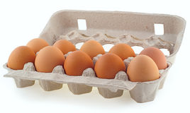 Tien eieren in de cassette Stock Afbeelding