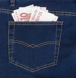 Tien euro in uw zak Royalty-vrije Stock Foto