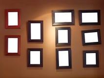 Tien frames op muur Stock Foto