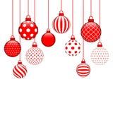 Tien hangende Kerstmissnuisterijen met Verschillend Patroonrood en Wit vector illustratie