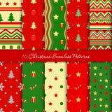 Tien Kerstmis naadloze patronen in rode en groene kleuren vector illustratie