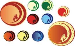Tien kleurenpalmen Stock Foto