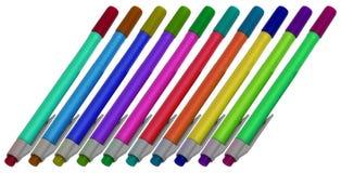 Tien kleurenpennen Royalty-vrije Stock Foto
