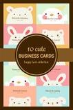 Tien leuke pastelkleur dierlijke adreskaartjes Royalty-vrije Stock Afbeelding