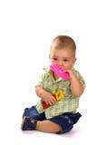 Tien maanden baby met speelgoed Royalty-vrije Stock Foto's