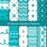 Tien mariene naadloze patronen in witte en blauwe kleuren Royalty-vrije Stock Afbeelding