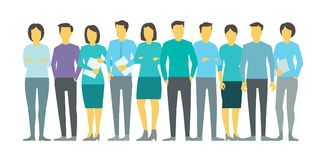 Tien mensen in lijn groeperen commerciële teampersona De VectorIllustratie van de voorraad royalty-vrije illustratie