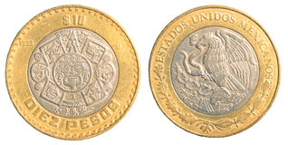 Tien Mexicaans pesomuntstuk Royalty-vrije Stock Foto