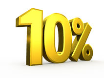 Tien percentensymbool op witte achtergrond Stock Afbeeldingen