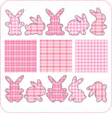 Tien roze konijnen. Mooie elementen voor plakboek Royalty-vrije Stock Afbeelding