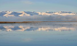 Tien Shan mountains near calm water of Son-Kul lake,natural landmark of Kyrgyzstan,Central Asia. Tien Shan mountains near calm water of Son-Kul lake,natural stock images