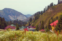 Tien Shan mountains Shymbulak ski resort at summer time, Almaty, Stock Photography