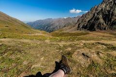 Tien Shen Mountains de piste supérieure de Shymbulak à Almaty, Kazakh Image libre de droits
