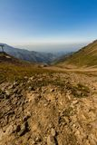 Tien Shen Mountains from Shymbulak Upper Piste in Almaty, Kazakh Stock Image