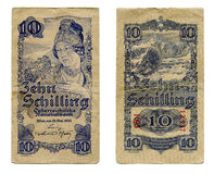 Tien shillingbankbiljet vanaf 1945 Royalty-vrije Stock Fotografie