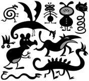 Tien silhouetten van vreemde critters Stock Foto