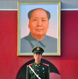 Tienanmen Square, Mao Zedong and soldiers Stock Photography