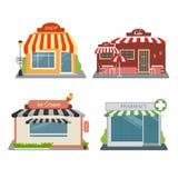 Tienda, café, tienda del helado, farmacia Sistema de diversas tiendas coloridas libre illustration