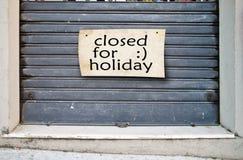 Tienda cerrada por días de fiesta Fotos de archivo libres de regalías