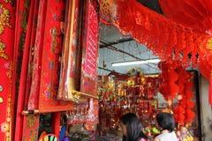 Tienda china de la decoración del Año Nuevo en la calle petaling Malasia Foto de archivo