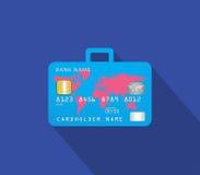 Tienda con la tarjeta de crédito con concepto del equipaje Foto de archivo