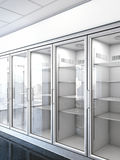 Tienda con un refrigerador vacío Imagen de archivo libre de regalías