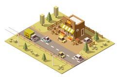 Tienda de alimentación polivinílica baja isométrica de los granjeros del vector libre illustration