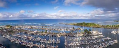 Tienda de alquiler de la resaca en la playa de Waikiki Imagen de archivo libre de regalías