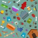 Tienda de animales, mercancías y fuentes, productos del perro de la tienda para el cuidado Fotografía de archivo libre de regalías