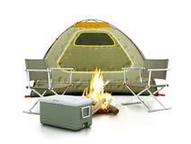 Tienda de campaña, asientos, fuego y refrigerador en el fondo blanco ilustración 3D libre illustration