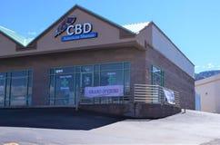 Tienda de CBD abierta para el negocio foto de archivo libre de regalías