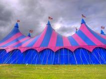 Tienda de circo de la tapa grande en un campo Imagen de archivo