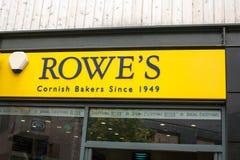 Tienda de Cornualles Front Sign de los panaderos de Rowe fotos de archivo
