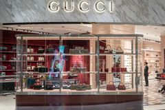 Tienda de Gucci en rey Power, Bangkok, Tailandia, el 21 de diciembre de 2018 foto de archivo